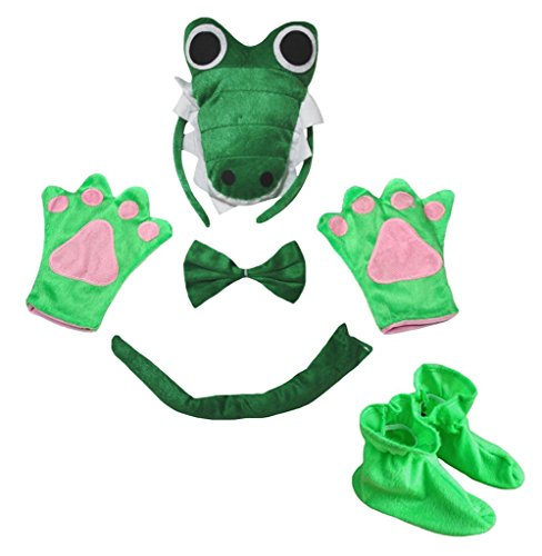 Petitebelle 3D Green Crocodile Headband Bowtie Tail