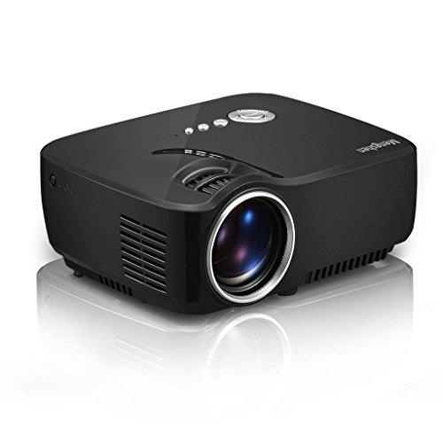 Mengshen LED Proyector Mini HD Portátil Proyectores 1200 lúmenes 1080P Home Cinema Altavoz Incorporada con HDMI/USB/AV/VAG/SD Interfazpara el Cine en casa MS GP70
