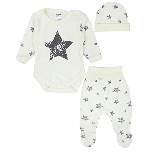 TupTam Baby Kleidung Set Body Strampelhose Mütze Teddybär, Farbe: Graue Sterne Ecru, Größe: 62 -