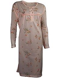 Damen Nachthemd Langarm mit Blumenmuster 2 Typen jeweils 4 verschiedene Farben