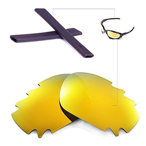 Walleva Entlüftete Linsen und Gummi-Kit (Earsocks) Für Oakley Jawbone - 11 Optionen (24K Gold Polarisierte Linsen + Schwarzer Gummi)