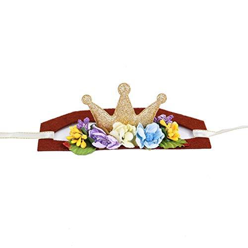 ShuoBeiter Hund Stirnband Hund Zubehör Weihnachten Stirnband Halloween Ostern Party Hüte Kostüm Cosplay für Katze Hund Einstellbare Flexible Kopfschmuck Dog Headband (S, Gold Crown)