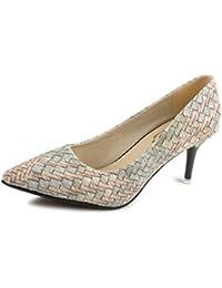 c803d20ad7898 Las Mujeres mezclan el Color de Las Bombas Punta de los Talones de tacón  Deslizamiento en la Corte Zapatos OL…