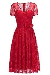 Babyonlinedress® Damen Abendkleider Mit Ärmel A Linie Kurz Abiballkleid Standesamtkleid für Hochzeitgäste Prom Dress Spitze Rot 54