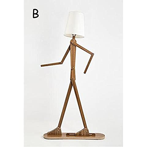 JUJUN E27 Humanoid decorativo Puppet Lampada creativa moderna di stile per Hotel Cafe da letto Soggiorno Sala da pranzo decorazione forma di legno umana lampadina standard , B - Ash Tonalità Legno