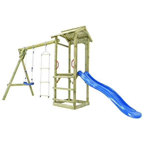 yorten Set de Casita de Juegos para el Jardín Parque Infantil con Escalera, Tobogán y Columpio de Madera FSC 400 x 150 x 220 cm