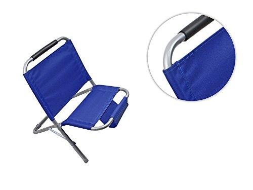 Vetrineinrete® spiaggina con portaoggetti riviste in metallo e tessuto pieghevole sedia sdraio per mare e piscina blu b51