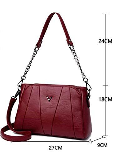 Frauen Leder Schultertasche Elegante Mode Schultertasche Messenger Bag Handtasche Damen Weiche Handtasche Purple