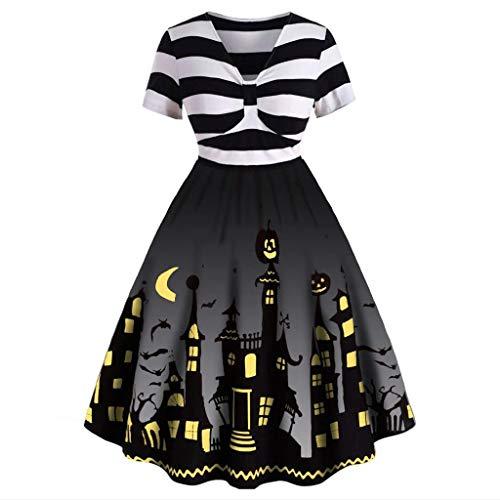 50er Kostüm Für Paare Jahre - Vectry Damen Vintage Kleider Halloween Muster Verknotet Kurzarm V-Ausschnitt Hausfrau Mode Hohe Taille Party Abendkleid Karneval Festival Kostüm Schwarz XL