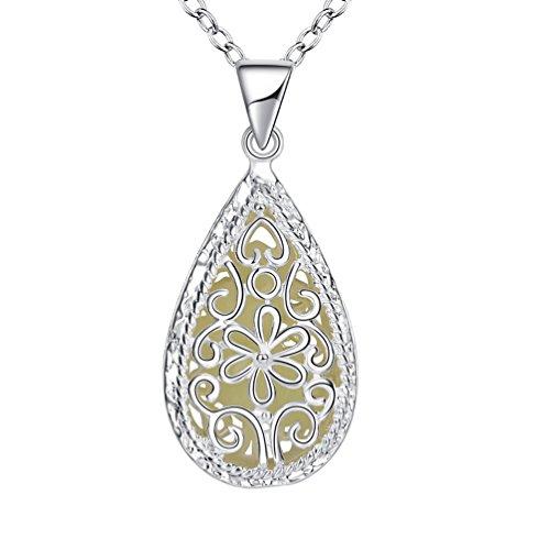 PAURO Damen Silber Überzog Hohle Tropfen Magische Feenhafte Leuchten Im Dunkeln Anhänger Halskette Cyan