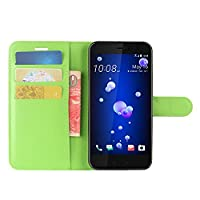 HTC U11 Life Case, HualuBro Premium PU Leather Wallet Flip Phone Protective Case Cover with Card Slots for HTC U11 Life Smartphone (Green)