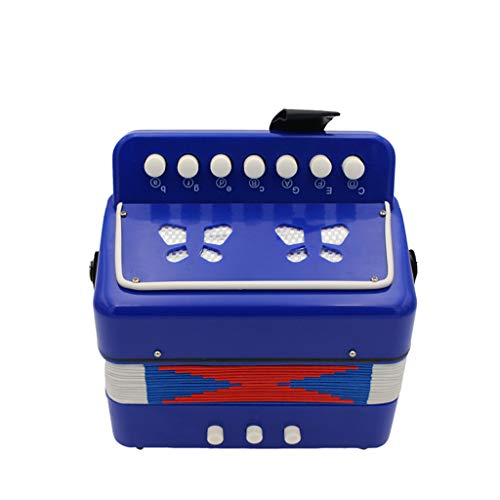 JHKJ Akkordeon, Kinder Mini Accordian Spielzeug - 7-Taste 2 Bass Entry Level Educational Musikinstrument - für Kinder und Anfänger,Blau