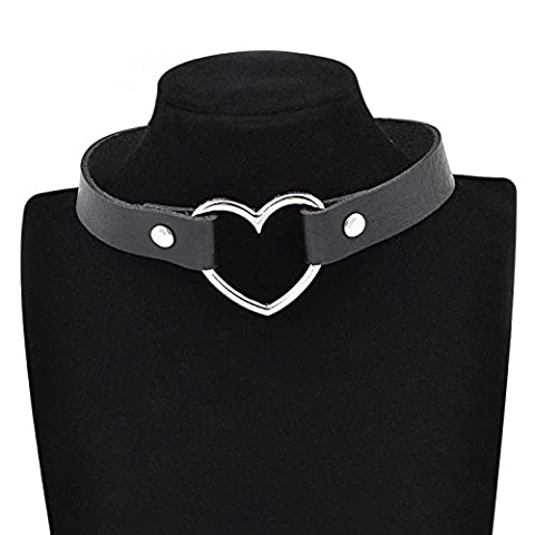 Interesting® 1 PCS Women Favorite Punk Goth Harajuku Grunge Leather Rivet Heart Funky Torques Collar Gothic Choker Necklace Fine Jewelry-Black