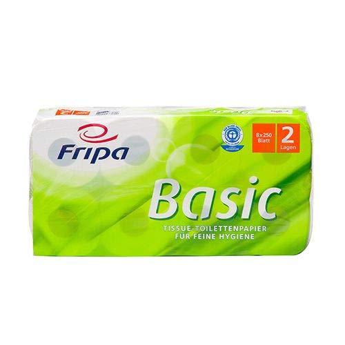 tradingbay24 Rollen Toilettenpapier, 2-lagiges Tissue 12 cm x 10 cm Weiss Basic 250 Blatt tbU95715 Klopapier WC, 64 Stück