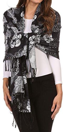 Soft Floral Schal (Sakkas CHS1810 - Sakkas Ontario Doppelschicht Blumen Pashmina / Schal / Wrap / Stola mit Fransen - 3-schwarz - One Size Regular)