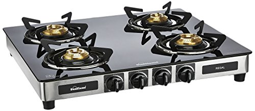 Sunflame GT Regal Stainless Steel 4 Burner Gas Stove, Black