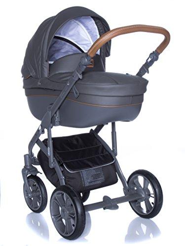 Poussette Combinée Travel System Roan Basse soft Shadow Grey 3en 1de poussette Sport Coque bébé Siège auto kite 0–13kg