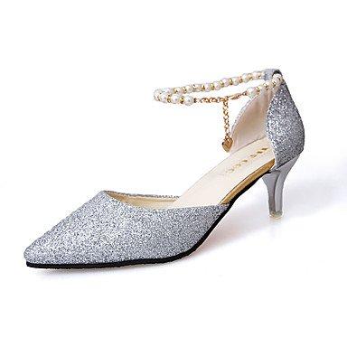 delle donne sandali estivi Comfort PU casual tacco basso Walking perline Nero Bianco US7.5 / EU38 / UK5.5 / CN38
