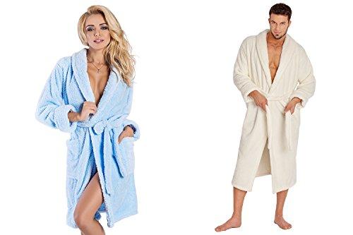 Ein Set bestehend aus 2 Bademänteln ist ein ideales Geschenk, für den gemeinsamen Wohlfühlfaktor in kalten Nächten. (XS-2XL) Ecru/Hellblau