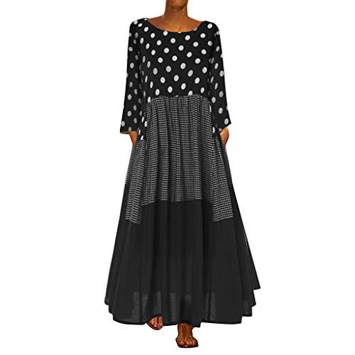 WUDUBE Chic Maxi Robe Femme Vintage Robe de soirée Manches Longues Bohème Imprimé Floral Robes de Plage Automne Hiver Longue Cocktail de Robe