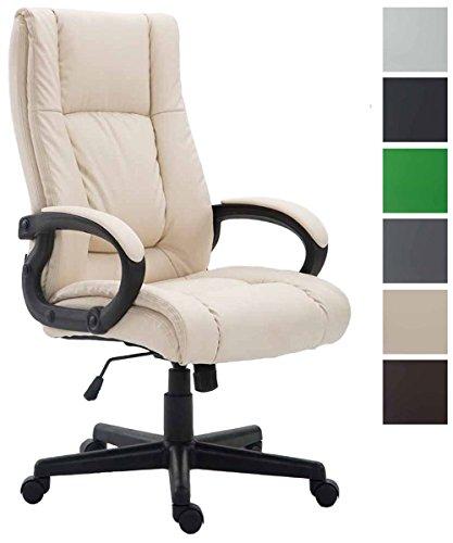 CLP Bürostuhl XL Sparta mit Kunstlederbezug I Chefsessel mit Wippmechanismus I Drehstuhl mit Armlehnen l Max. Belastbarkeit 140 kg I erhältlich Creme