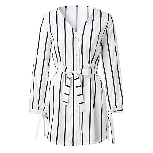 Damen long Pullover Strick, LeeMon Women Ladies Stripe Button V Neck Long Sleeve Fashion Mini Dress -
