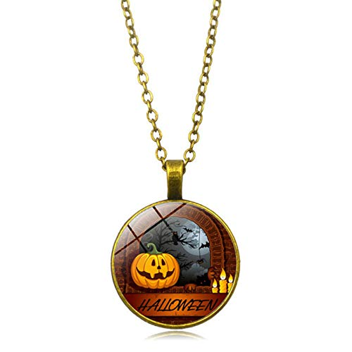 (Blisfille Halloween Spukhaus Zeit Edelstein Halskette Anhänger Halskette Körper Kette Herren Damen Fest)