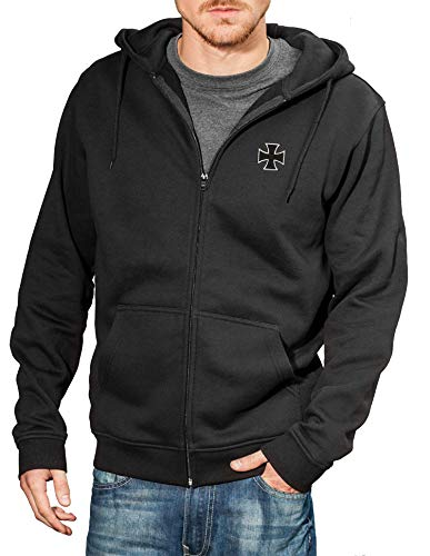 Baddery Motorrad-Jacke: Biker Pray mit Stickerei Eisernes Kreuz - Geschenk für Biker/Sweat mit Kapuze/Zip Hoody/Kapuzen-Pullover/Urban Hoodie/Chopper/Hooded-Jacket/Schwarz/Stick/USA (L)
