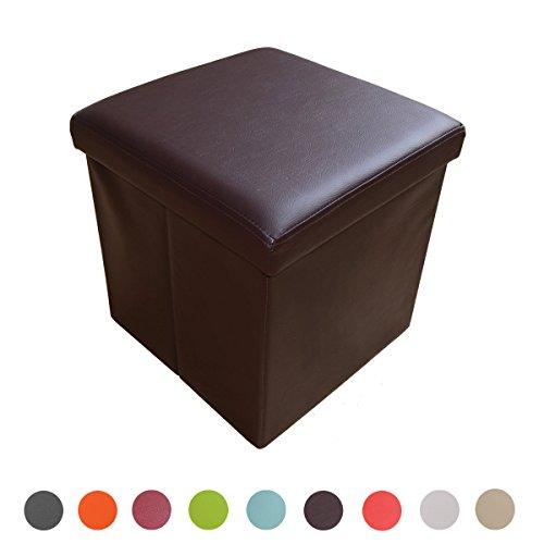 Style home Sitzbank Sitzhocker Aufbewahrungsbox mit Stauraum faltbar belastbar bis 300 kg Kunstleder 38 x 38 x 38 cm ... (Braun)