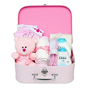 Baby Shower Gifts Hamper - Keepsake Box in Pink with Baby Clothes, Newborn Essentials, Teddy Bear, Gifts and Dove Toiletries