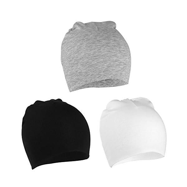 VBIGER Niños Sombrero Gorros 100% Algodón Beanie Hat Primavera otoño 3 Piezas,uno – Tres años