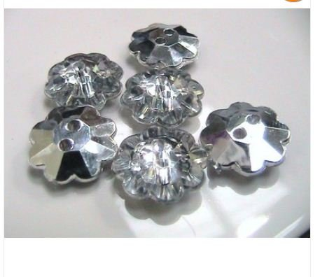 25 x 13mm Silver Plated Acrylic Flower Two Hole Button