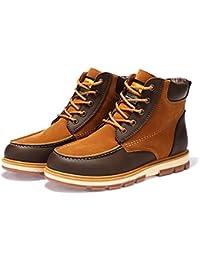 Hombres Botas Moda PU Cuero Hombres cómodos Zapatos Caliente Tobillo Botas Corto Felpa Invierno Zapatos