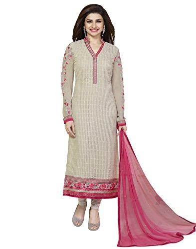 VinayTM Prachi Desai Party Wear Formal Wear Suit Embroidered Georgette Beige Semistitched Salwar Kameez Dupatta