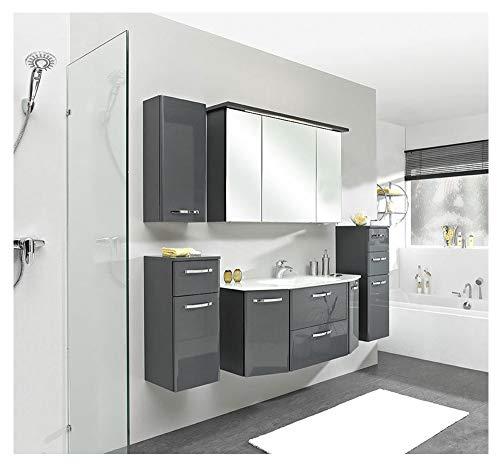 PELIPAL - Velo 12 - Badmöbel - 112 cm - 6-teilig mit Spiegelschrank, Glas-Waschtisch usw. in Anthrazit Hochglanz/Anthrazit -
