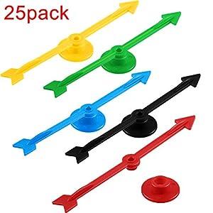 Chengu 4 Pulgadas de Flecha de Spinner de Juego de Plástico en 5 Colores para Escuela, Spinner de Juego de Tablero (25 Piezas) de Chengu
