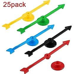 4 Pouces Jeu de Spinners en Plastique de Flèche Flèche Spinner dans 5 Couleurs pour l'École, Jeu de Société Spinners (25 Pièces)