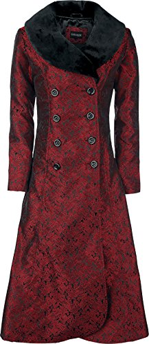 Gothicana by EMP Blood Red Brocade Coat Cappotto donna rosso/nero L