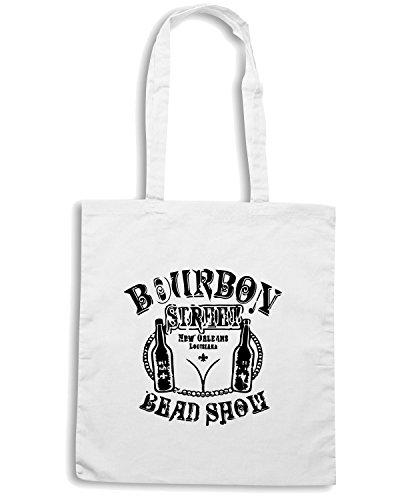 T-Shirtshock - Borsa Shopping FUN0036 2bourbonst1ltt 34 sleeve tshirt Bianco