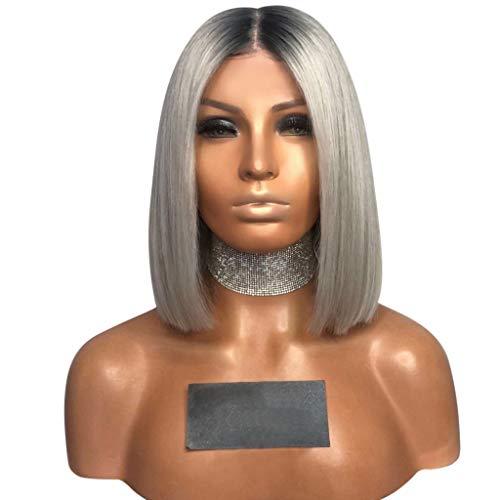 TianWlio Perücken Damen Mode Sexy Farbverlauf Grau Party Perücken Kurze Lockige Haare Mischfarben Synthetische Perücke ()