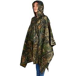 GOTOTOP Poncho Impermeable multifunción, Poncho Militar de Lluvia Impermeable con Capucha para Camping, al Aire Libre, Pesca, Supervivencia, Unisex Adulto, Foglia di Acero
