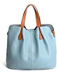 Generic Officewear Women's Stylish Casual 30 Ltr Big Leather Handbag With Brown Handle Light Blue Color