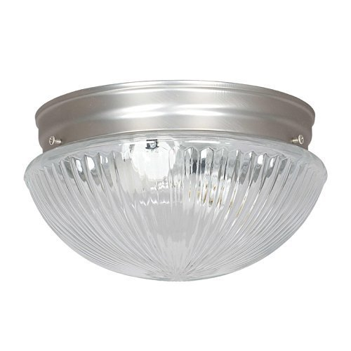 Sunset Lighting F8108-53 Flush Mount with Clear Prismatic Glass, Satin Nickel Finish by Sunset Lighting - Clear Prismatic Glass