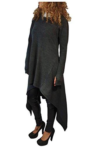 Issza Donna Vestito Asimmetrico Felpa con Cappuccio Manica Lunga Elegante Casual Pullover Grigio