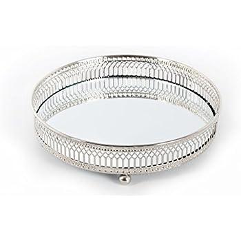 plateau pour bougies avec fond en verre poli miroir et contour en m tal vieilli argent amazon. Black Bedroom Furniture Sets. Home Design Ideas