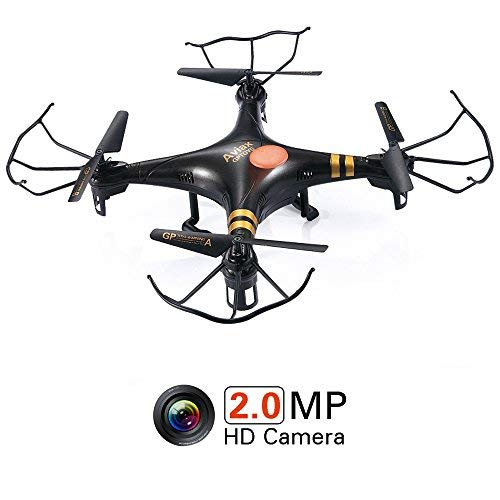 GPTOYS Black Aviax Drohne mit 2MP HD Kamera Ferngesteuerte Quadcopter 6-Axis 360° Flip 2,4 GHz RC Drohne Quadrocopter -