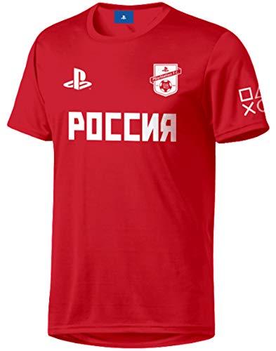 Sony Playstation FC - Rusia - Hombre Oficial Camiseta de Fútbol - Rojo, XL