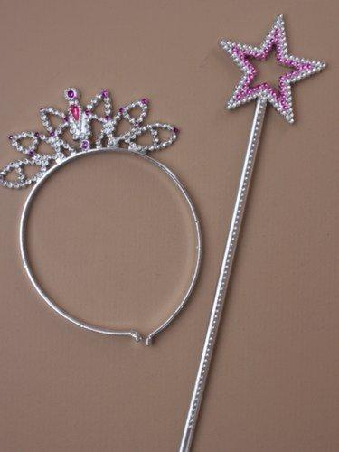 Rose Vif Star Plastique Diadème & Baguette Set IN543