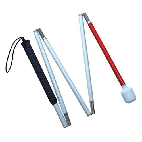 Aluminio Baston Blanco Ciegos Baja Vision Plegable