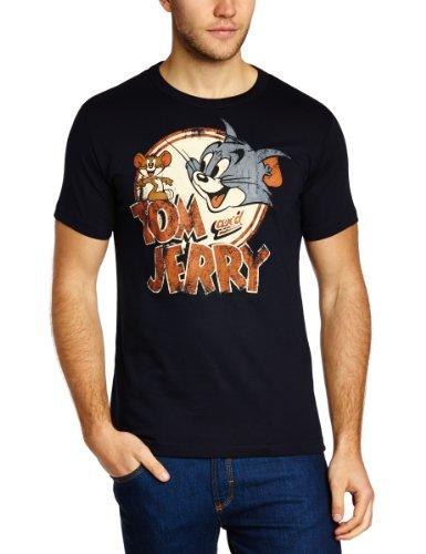 Logoshirt Herren T-Shirts  Tom and Jerry - Logo, Rundhals  - Blau - Blue (Navy) - Größe L (Herstellergröße: Large)